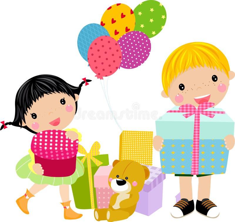 prezentów pudełkowaci dzieciaki ilustracja wektor