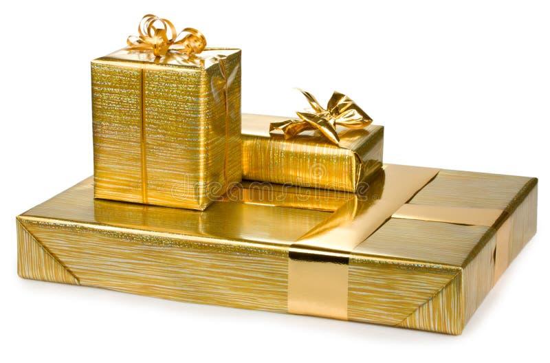Prezentów złoci pudełka fotografia royalty free