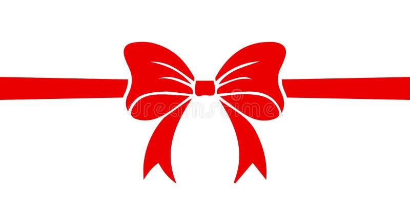Prezent dekoracja Piękny czerwony faborku znak - wektor ilustracji