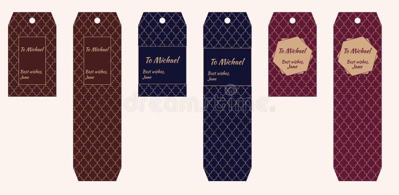 Prezent etykietki z marokańczyka wzorem w brązie, błękicie, zmroku i miejscu dla teksta brwi, - czerwień z beżowym ornamentem royalty ilustracja