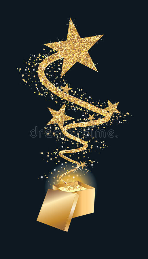 Prezent gwiazdy komarnica w górę złocistej błyskotliwości ilustracji