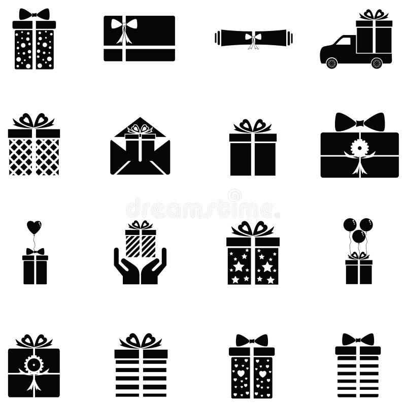 Prezent ikony set ilustracja wektor