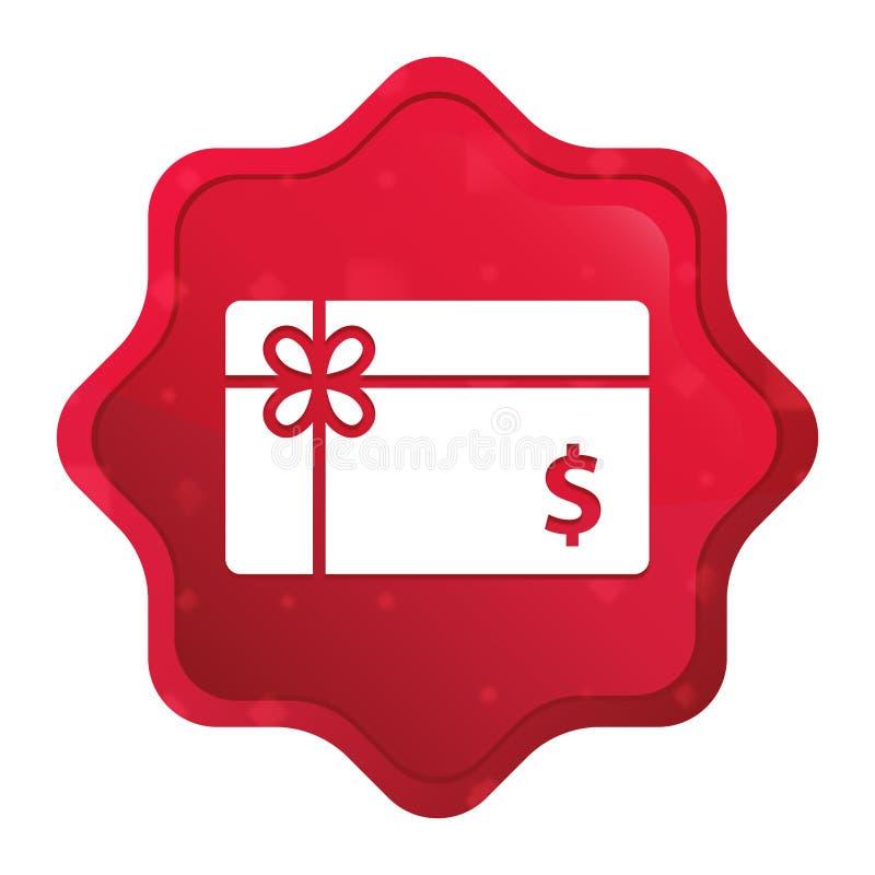 Prezent karty dolarowego znaka ikony starburst majcheru mglisty różany czerwony guzik ilustracja wektor