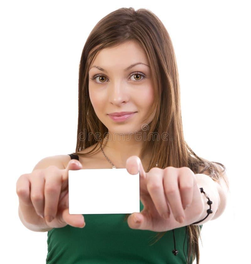Prezent karty kobiety ono uśmiecha się zdjęcie stock