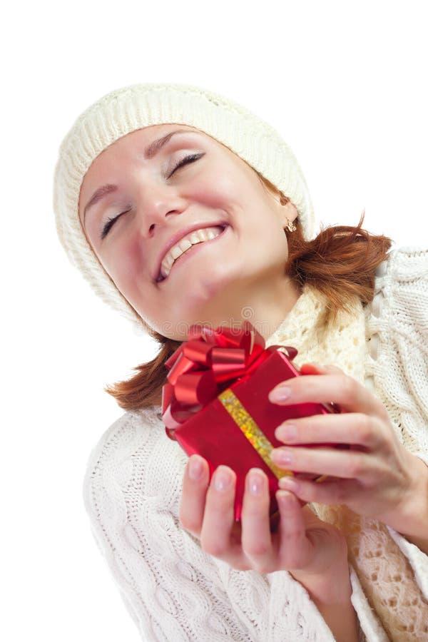 prezent kobieta szczęśliwa uśmiechnięta obrazy royalty free