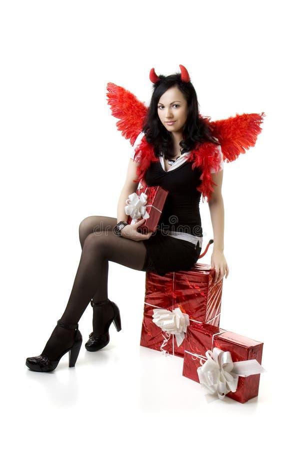 prezent kostiumowa czarcia dziewczyna zdjęcie royalty free