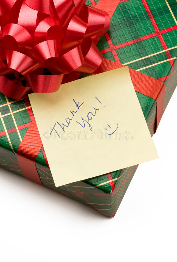 prezent notatka dziękować ty fotografia stock