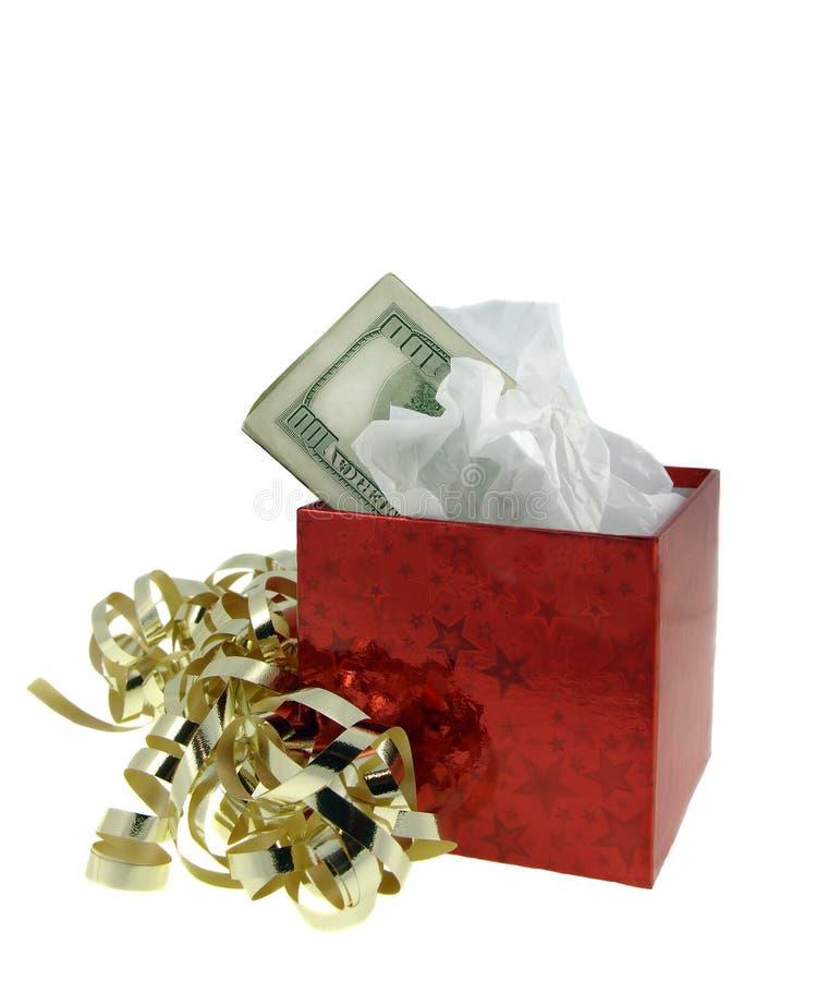 prezent pudełkowata pieniądze czerwony obraz royalty free