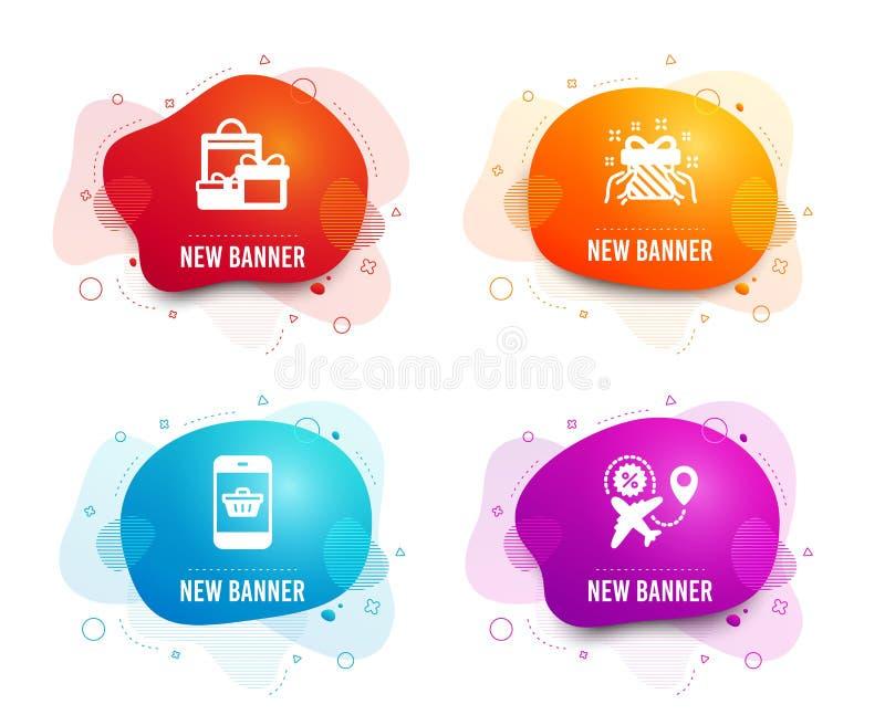 Prezent, Smartphone kupienie i zakupy ikony, Lot sprzeda?y znak Tera?niejszo??, strona internetowa zakupy, wakacji pakunki wektor ilustracja wektor