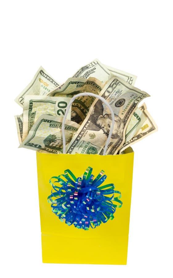 Prezent torba pełno pieniądze strzał na kącie zdjęcie royalty free