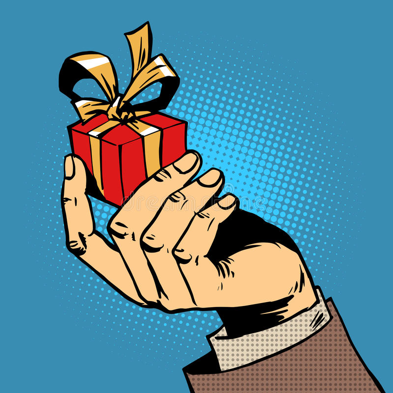 Prezent w jego ręce małego pudełka wystrzału sztuki komiczki retro ilustracji