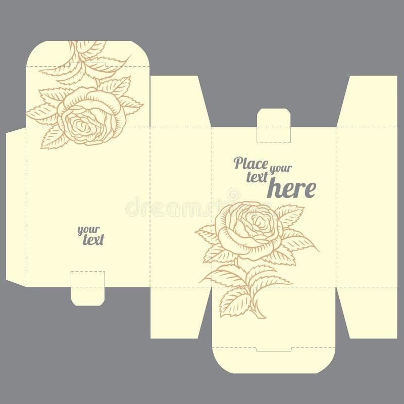 Prezenta ślubu przysługi kostka do gry pudełka projekta szablon z natura wzorem ilustracji