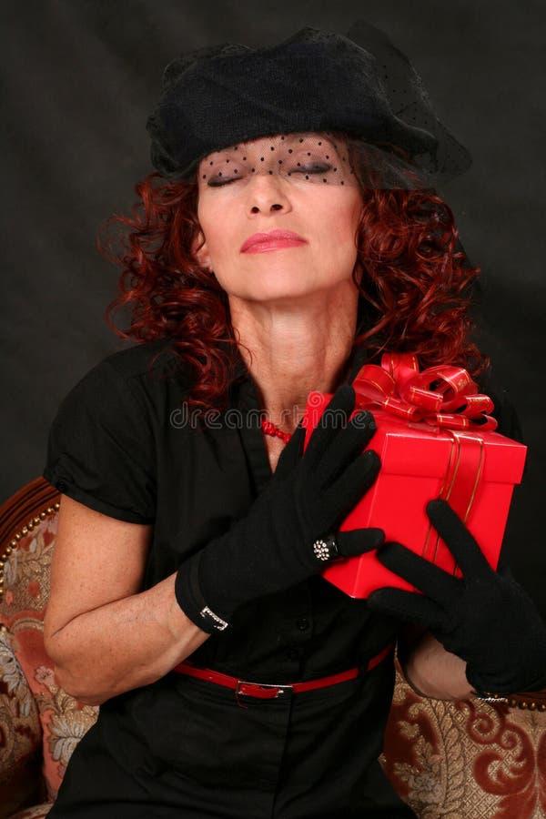 prezenta czerwieni kobieta zdjęcia royalty free
