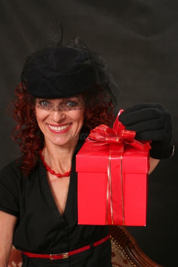 prezenta czerwieni kobieta zdjęcie stock