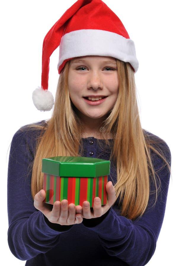 prezenta dziewczyny kapeluszowy mienie s Santa zdjęcie royalty free