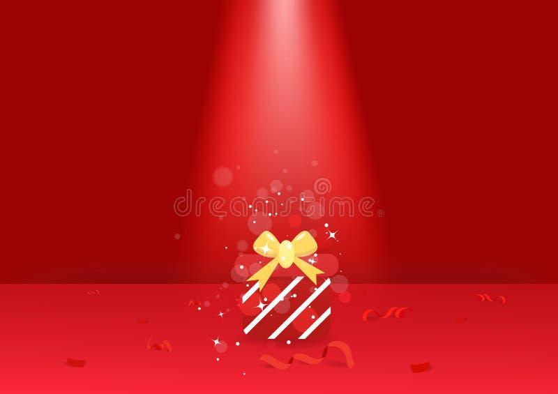 Prezenta i confetti faborek na podłodze, światło reflektorów czerwony temat, kartki z pozdrowieniami świętowania sezonowi wakacje royalty ilustracja