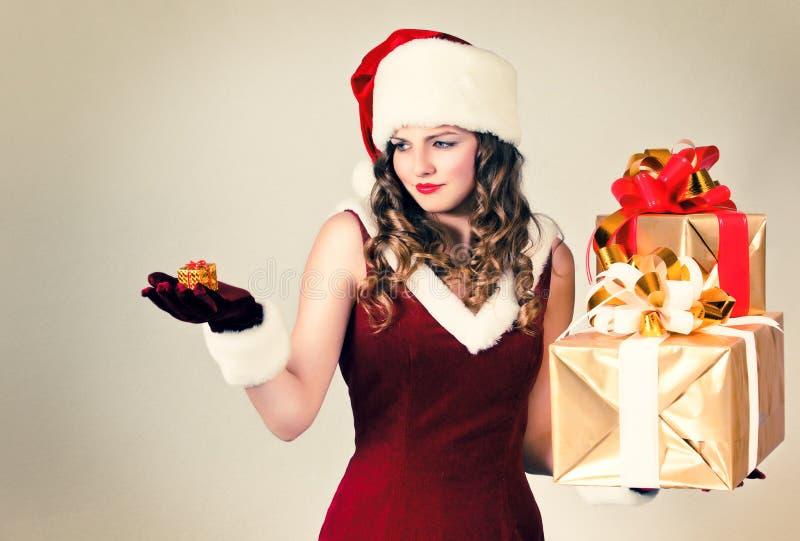 prezenta kapeluszowa Santa kobieta obrazy royalty free