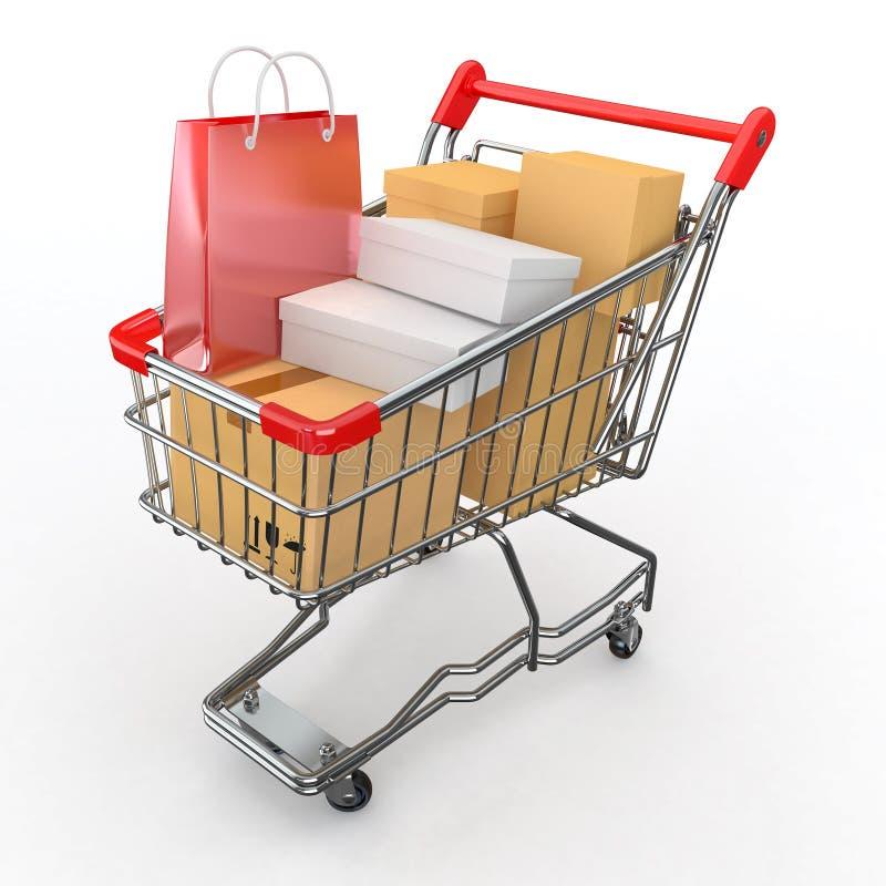 Prezenta kupienie. Pudełka wózek na zakupy pełno ilustracji