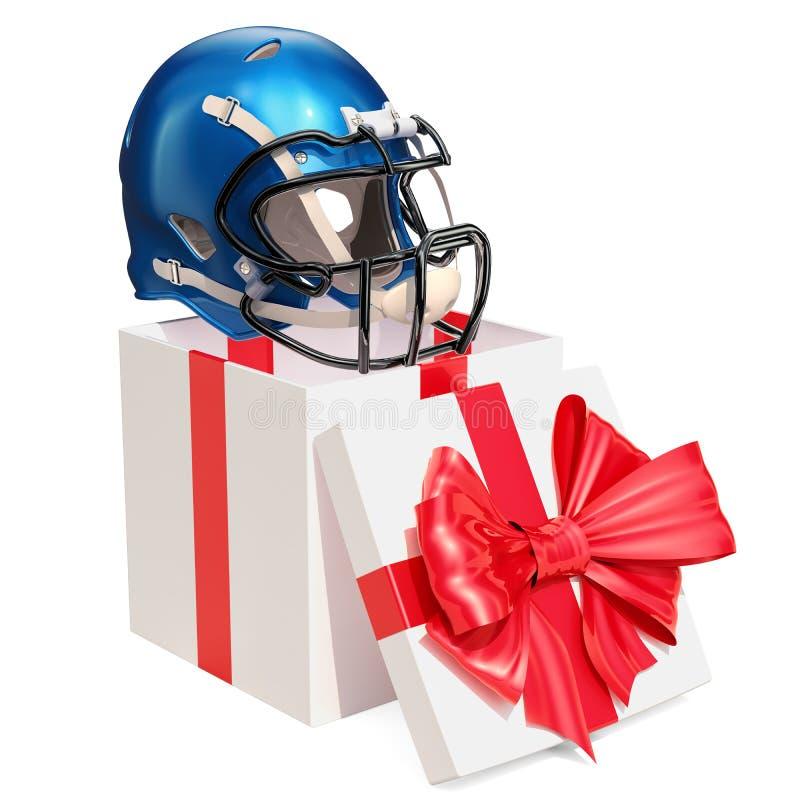 Prezenta pojęcie, futbolu amerykańskiego hełm wśrodku prezenta pudełka 3D rende royalty ilustracja