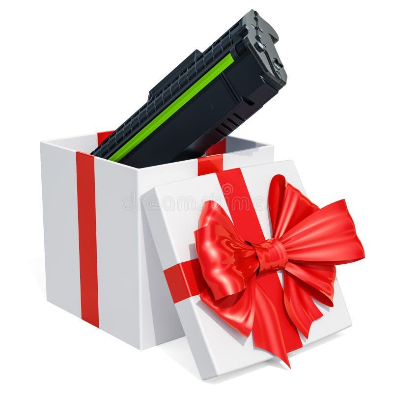 Prezenta pojęcie, toner ładownica wśrodku prezenta pudełka świadczenia 3 d ilustracja wektor