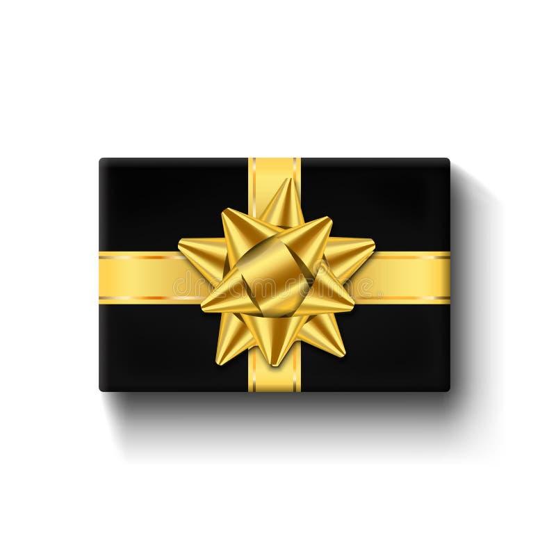 Prezenta pudełka 3d odgórny widok, złocisty tasiemkowy łęk Odosobniony biały tło Dekoracja prezenta teraźniejszy czarny pudełko d ilustracja wektor