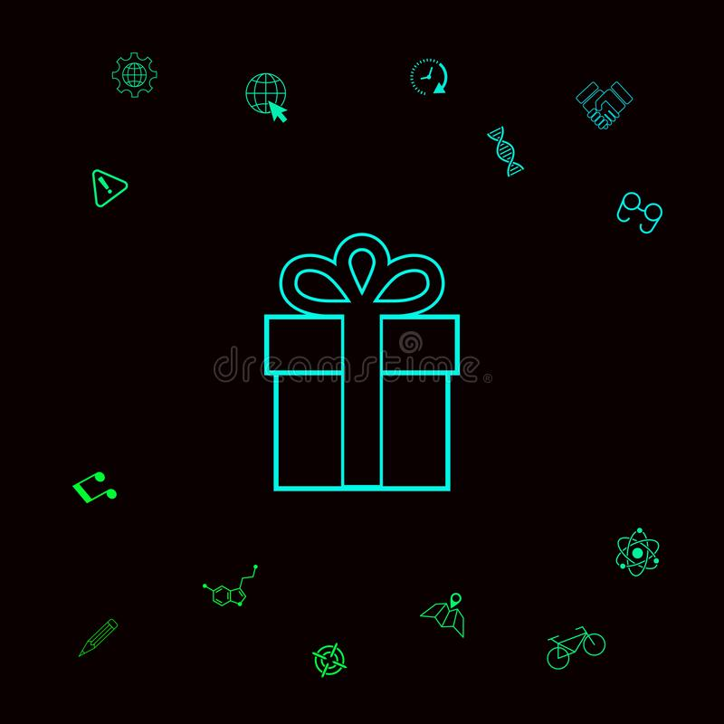 Prezenta pudełka ikona Graficzni elementy dla twój designt royalty ilustracja