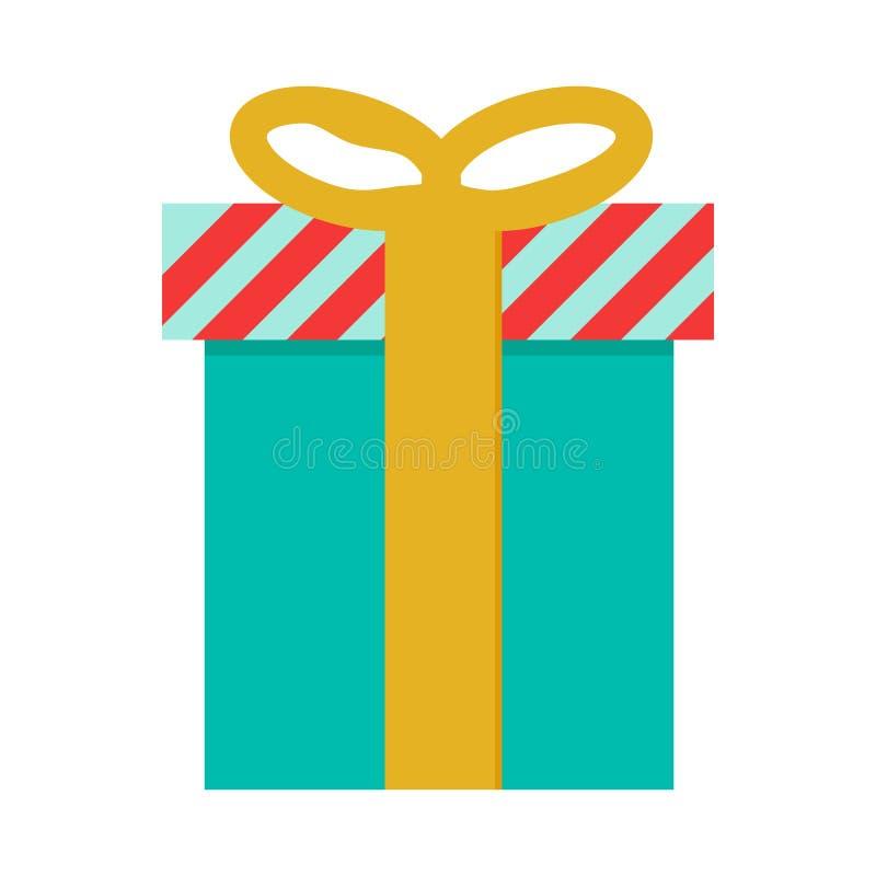 Prezenta pudełka ikona w płaskim koloru stylu Nagrodzony urodzinowy Bożenarodzeniowy wakacje ilustracja wektor