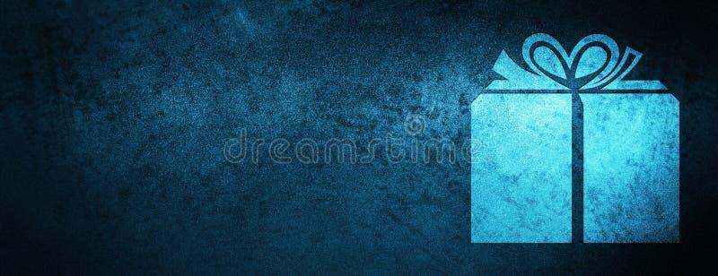 Prezenta pudełka ikony sztandaru specjalny błękitny tło ilustracji