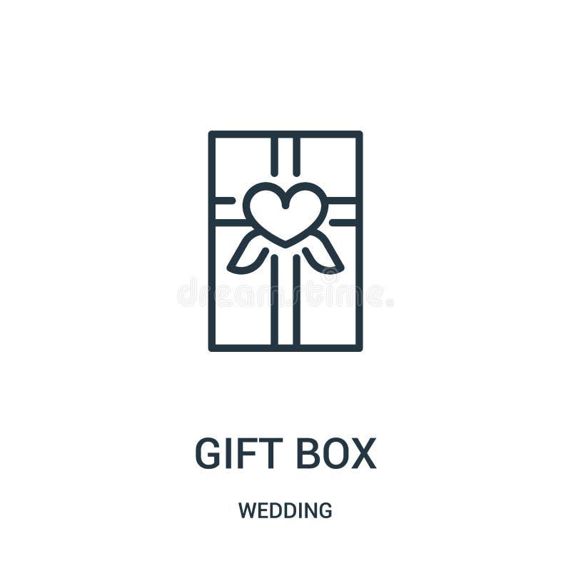 prezenta pudełka ikony wektor od ślubnej kolekcji Cienka kreskowa prezenta pudełka konturu ikony wektoru ilustracja Liniowy symbo ilustracja wektor