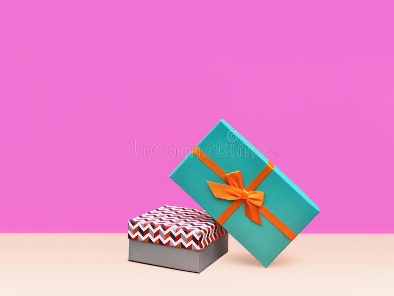 Prezenta pudełka Modna projektująca fotografia obrazy royalty free