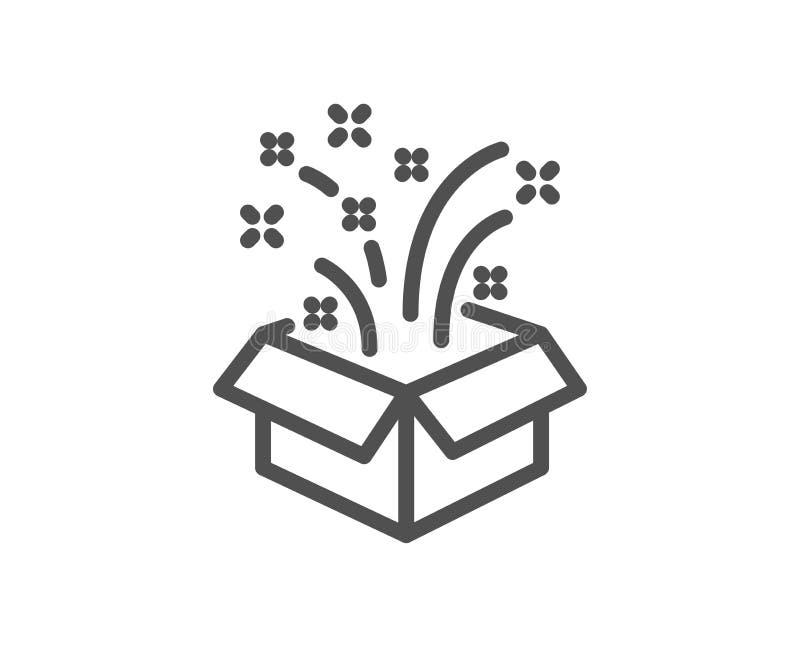 Prezenta pudełka otwarta kreskowa ikona Boże Narodzenia lub nowy rok teraźniejszość znak wektor ilustracja wektor