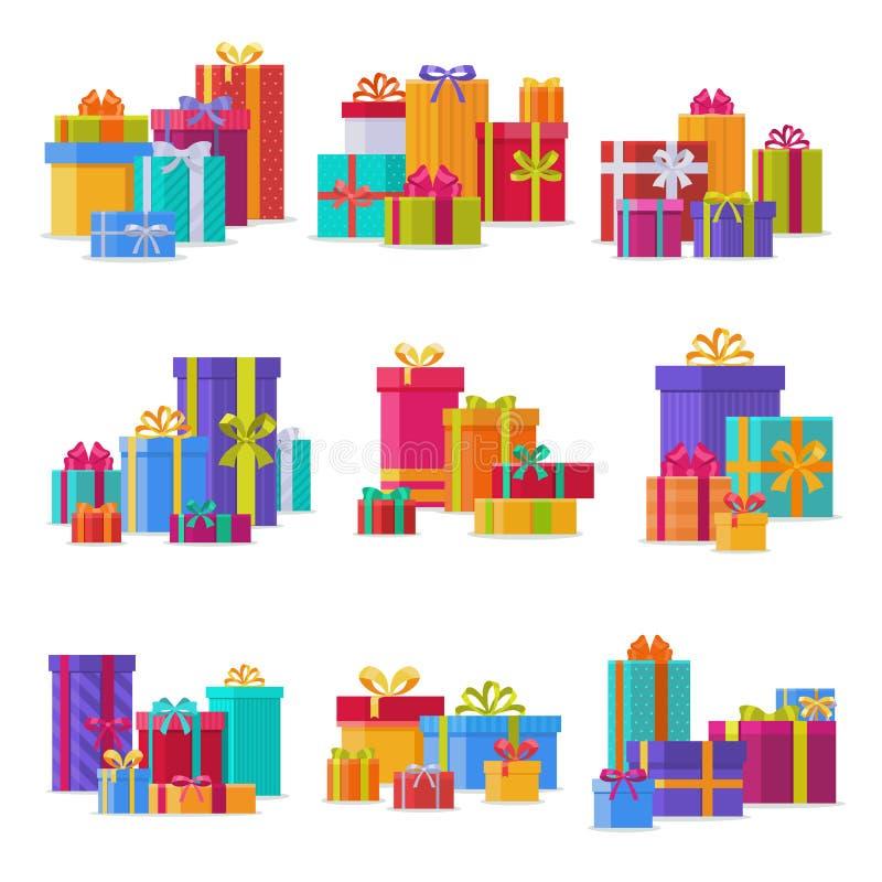 Prezenta pudełka paczek składu wydarzenia powitania przedmiot z faborku i łęku urodziny odizolowywał wektorową ilustrację ilustracja wektor