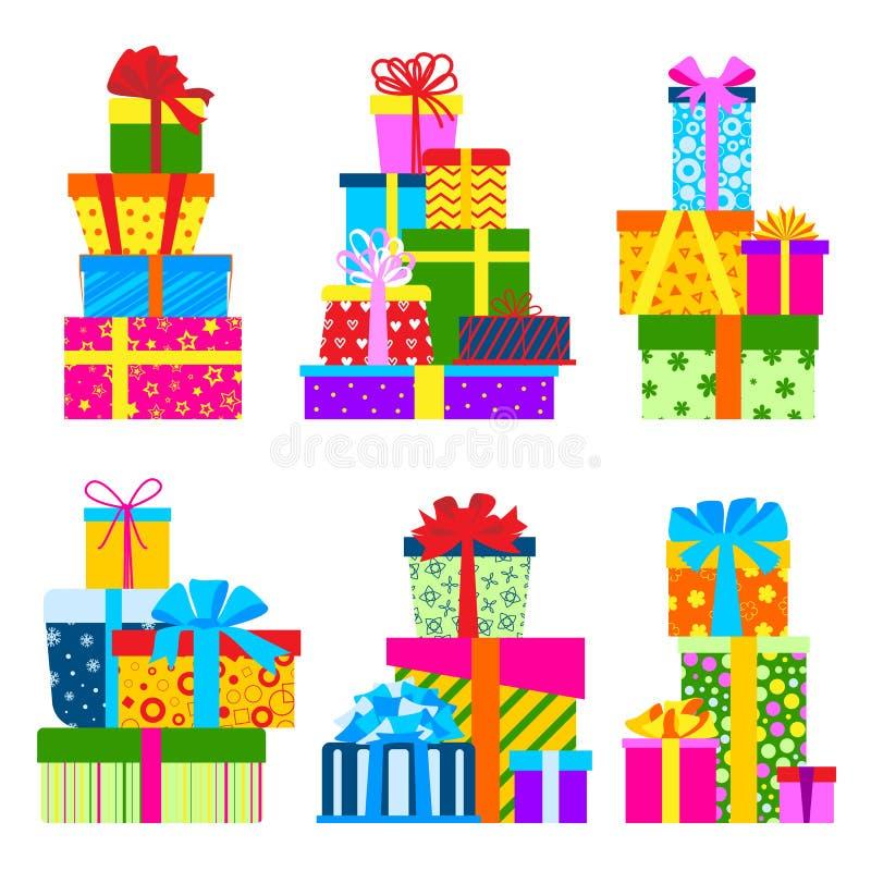 Prezenta pudełka paczek składu wydarzenia powitania przedmiota urodziny odizolowywał wektorową ilustrację ilustracja wektor