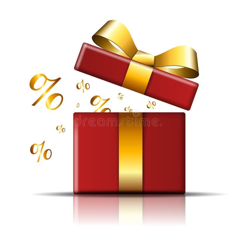 Prezenta pudełka sprzedaży ikona Zaskakuje teraźniejszego czerwonego szablon, złocisty tasiemkowy łęk, odosobniony biały tło gift ilustracja wektor