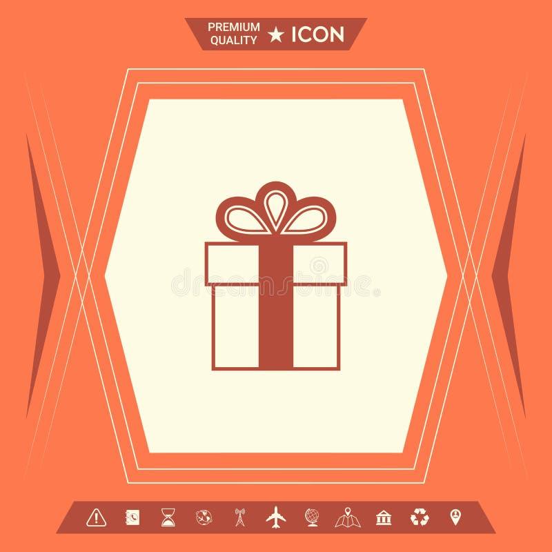 Prezenta pudełka symbolu ikona ilustracji
