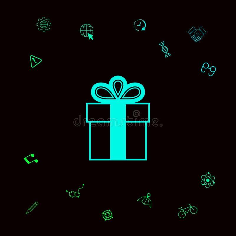 Prezenta pudełka symbolu ikona Graficzni elementy dla twój designt ilustracji