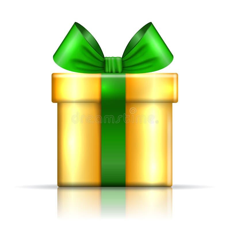 Prezenta pudełka złota ikona Zaskakuje teraźniejszego szablon, tasiemkowy łęk, odosobniony biały tło 3D projekta dekoracja dla bo royalty ilustracja