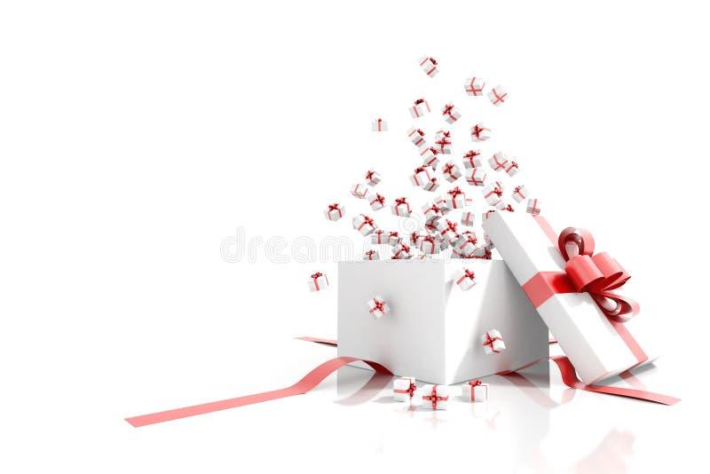 Prezenta pudełko emituje małego prezentów pudełek kartka z pozdrowieniami royalty ilustracja