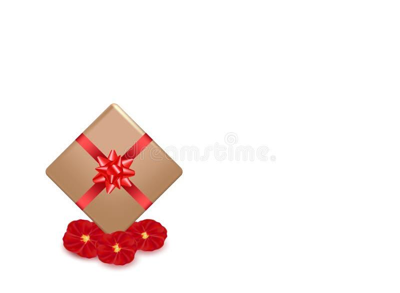 Prezenta pudełko i czerwieni kaligrafii lampas Różani płatków kwiaty Walentynka dnia kartki z pozdrowieniami projekt, 3d styl na  ilustracja wektor