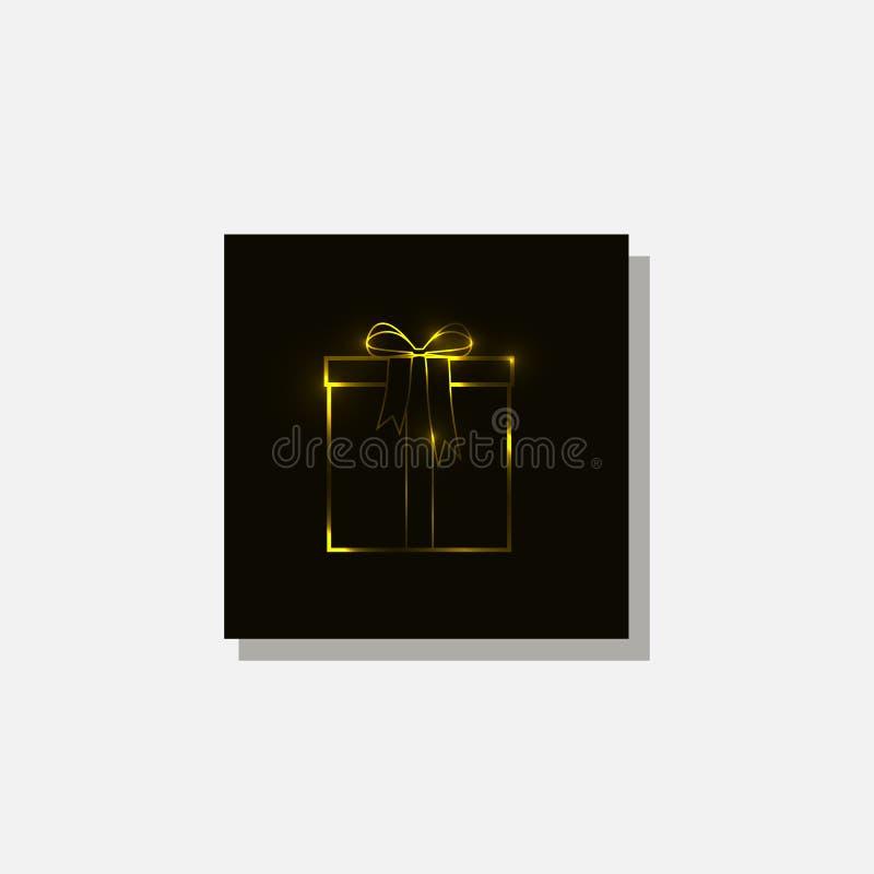 Prezenta pudełko jest złotym kolorem zdjęcia royalty free