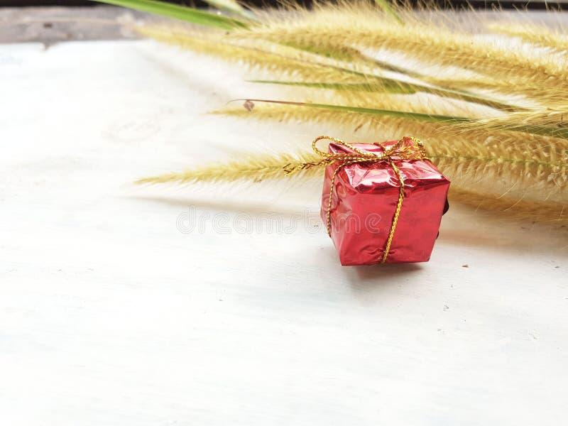 Prezenta pudełko od natury i kwiatów obraz stock