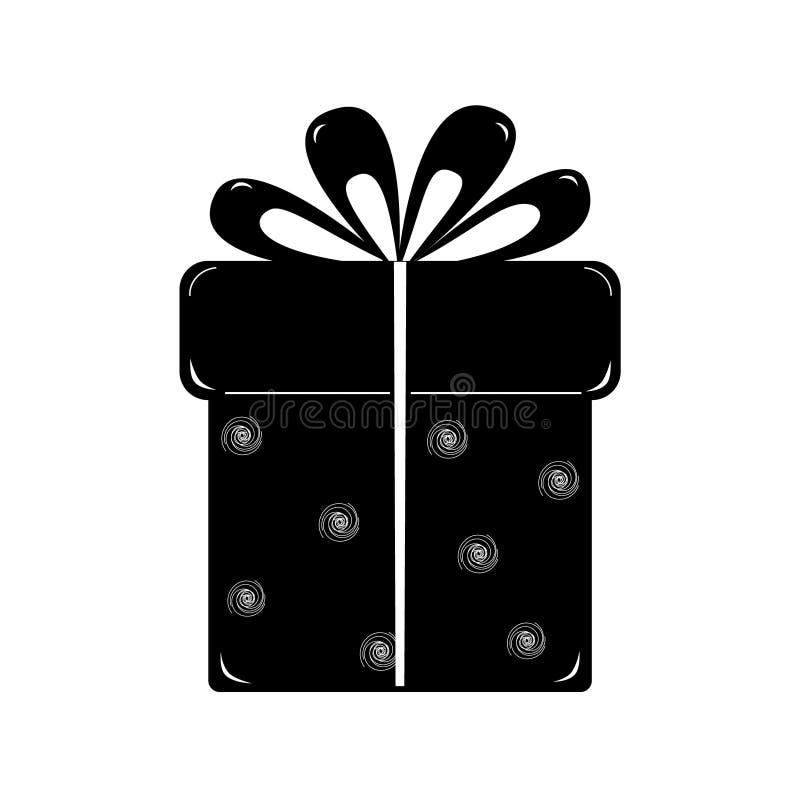 Prezenta pudełko, odosobniony czerń na białym tle ilustracja wektor