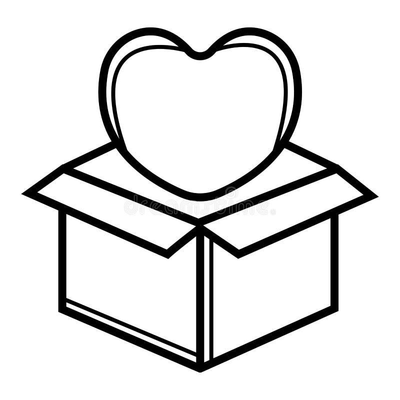 Prezenta pudełko z łęku i serca ikoną royalty ilustracja