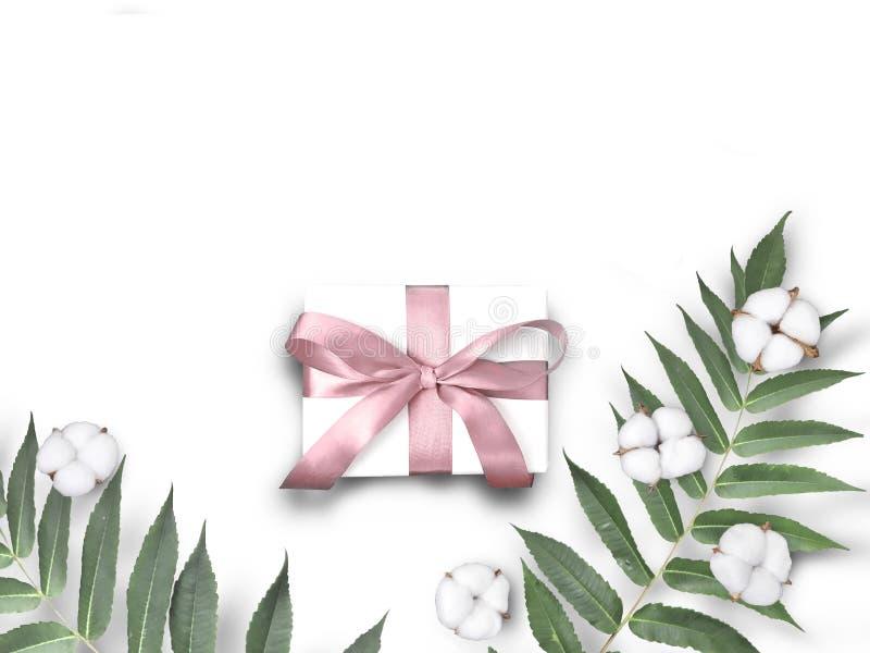Prezenta pudełko z bawełna liśćmi na białym tle i kwiatami obrazy royalty free