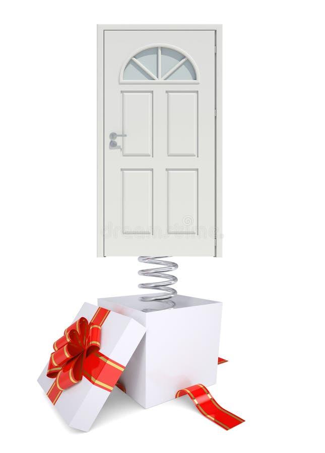 Prezenta pudełko z czerwonym zespołu i bielu drzwi na wiośnie ilustracja wektor
