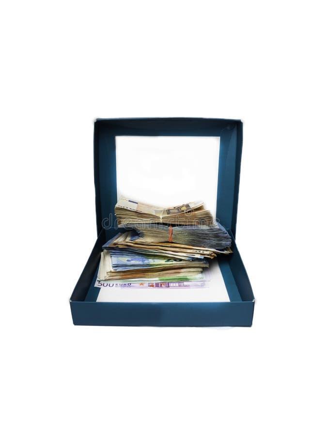 Prezenta pudełko z pieniądze odizolowywającym na białym tle zdjęcie royalty free