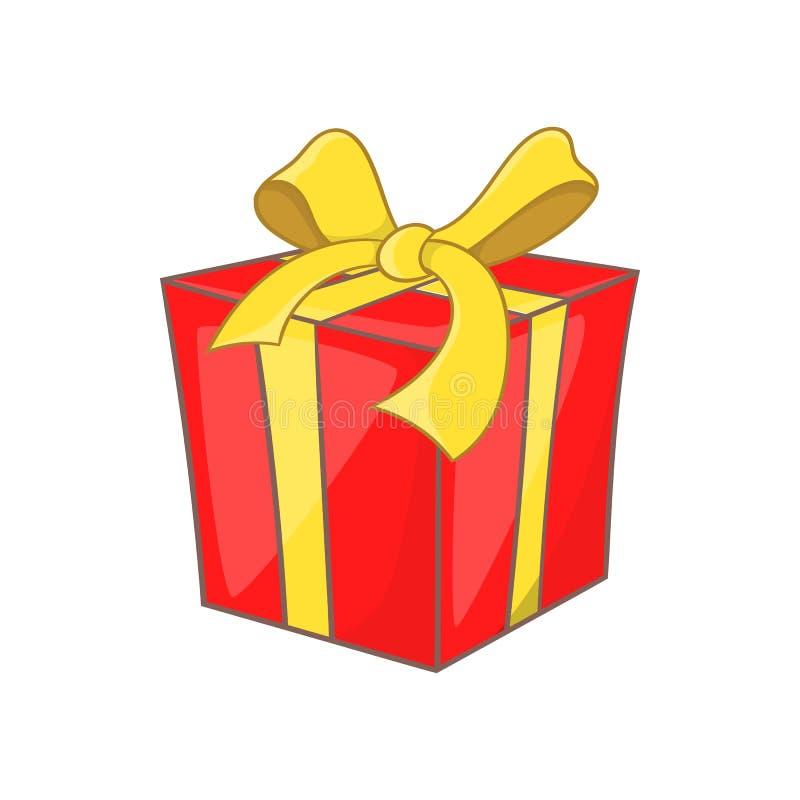 Prezenta pudełko z tasiemkową łęk ikoną, kreskówka styl royalty ilustracja
