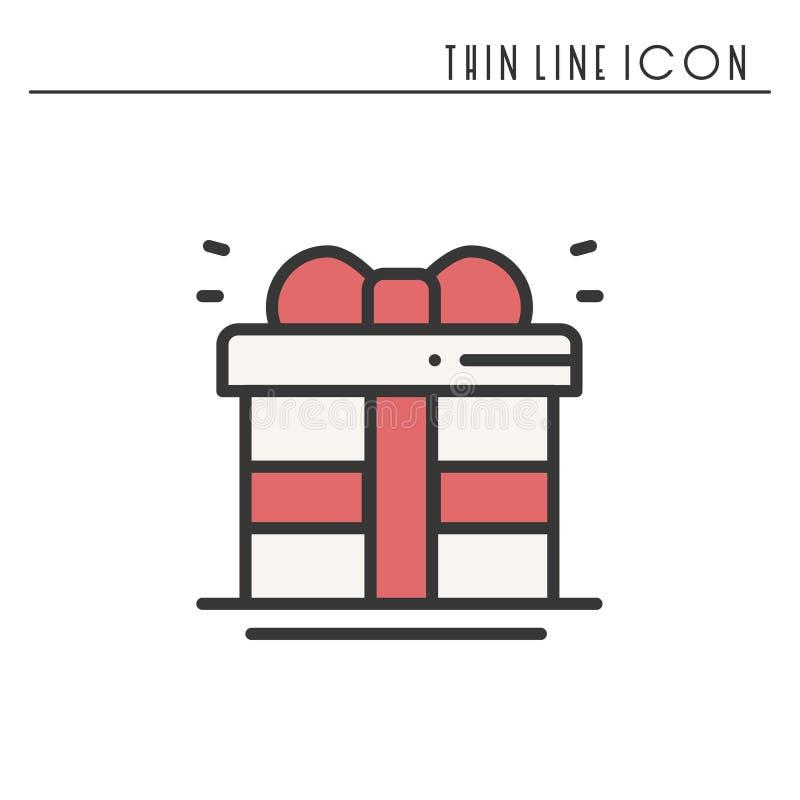 Prezenta pudełko z tasiemkową ikoną Teraźniejszość, giftbox Nowego Roku świętowania wakacje dekorowali piktogram Kreskowy Bożenar royalty ilustracja