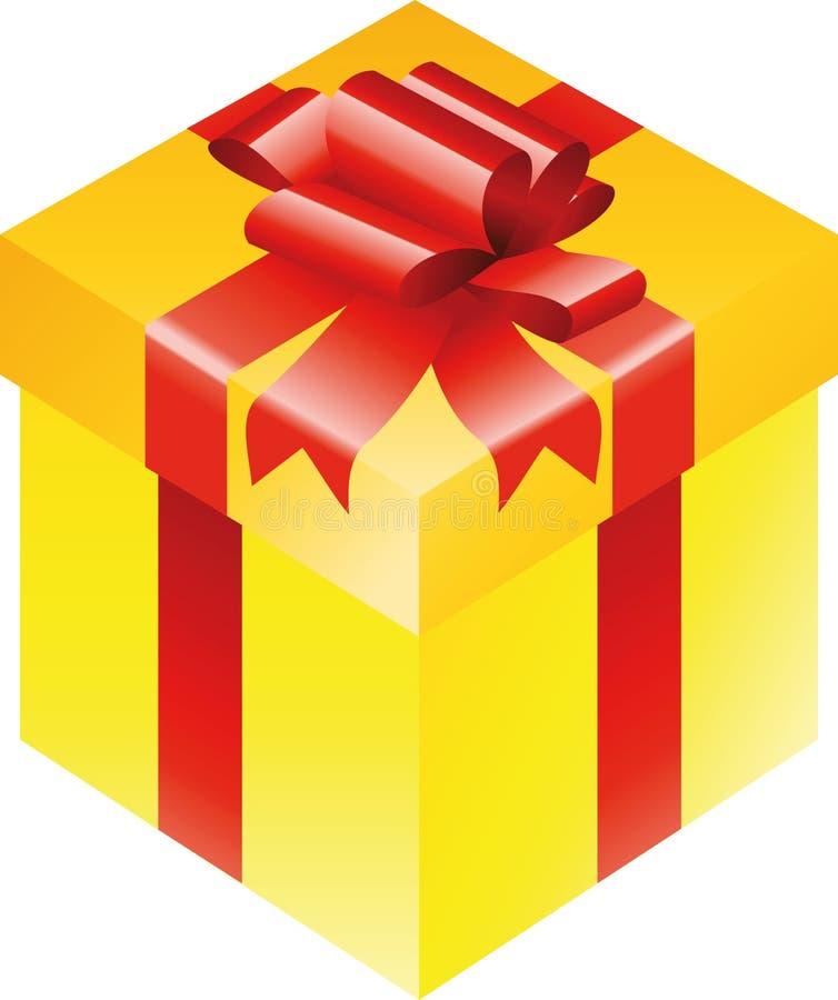 prezenta pudełkowaty złoto ilustracja wektor