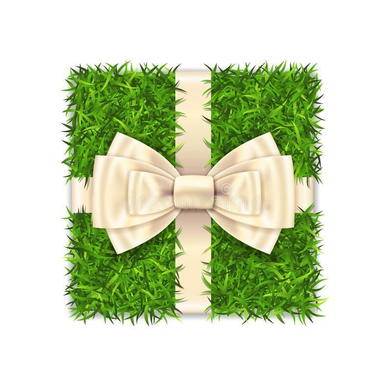 Prezenta pude?ko 3d Zielonej trawy pude?ka odg?rny widok, srebny tasiemkowy ??k odizolowywa? bia?ego t?o Natura ?yczliwy projekt  royalty ilustracja